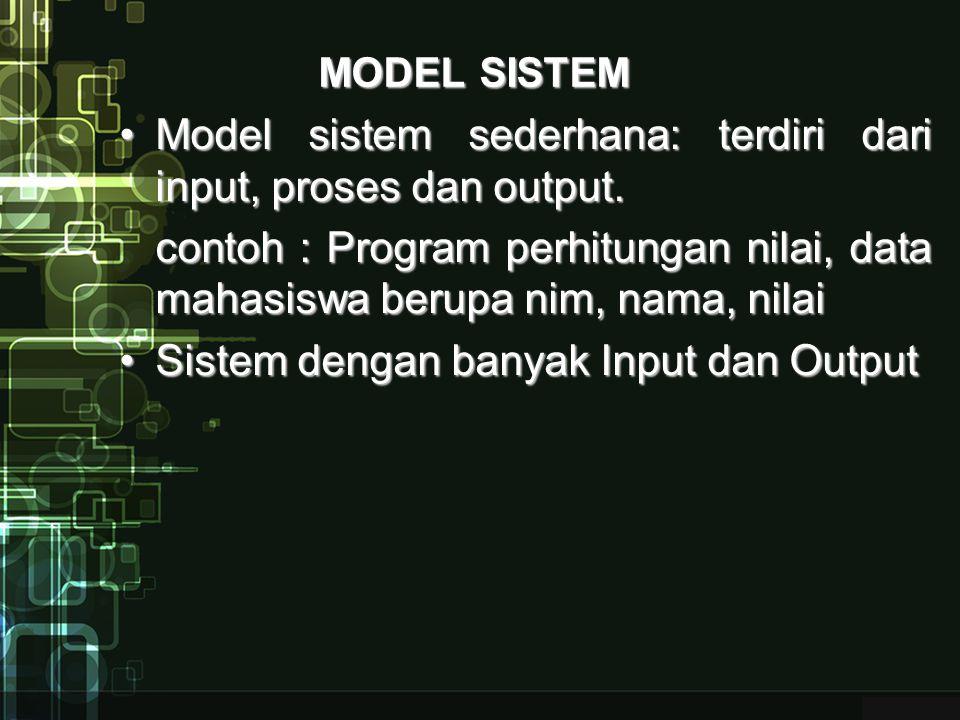 Model sistem sederhana: terdiri dari input, proses dan output.
