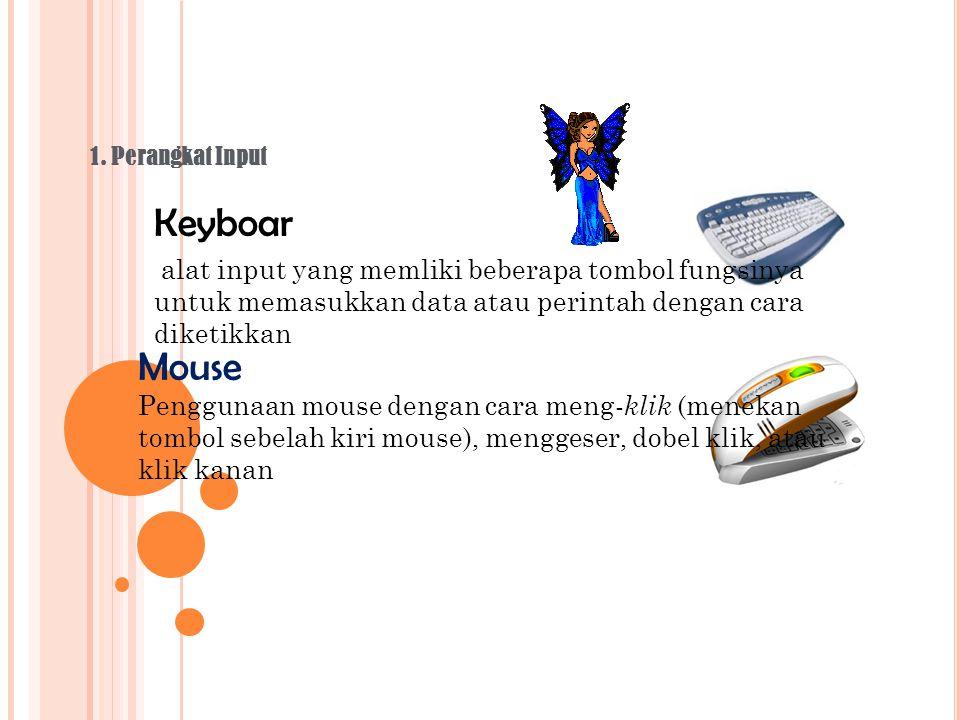 1. Perangkat Input Keyboar. alat input yang memliki beberapa tombol fungsinya untuk memasukkan data atau perintah dengan cara diketikkan.