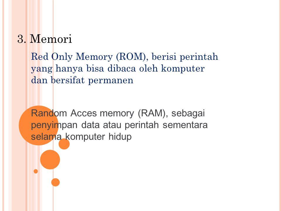 3. Memori Red Only Memory (ROM), berisi perintah yang hanya bisa dibaca oleh komputer dan bersifat permanen.