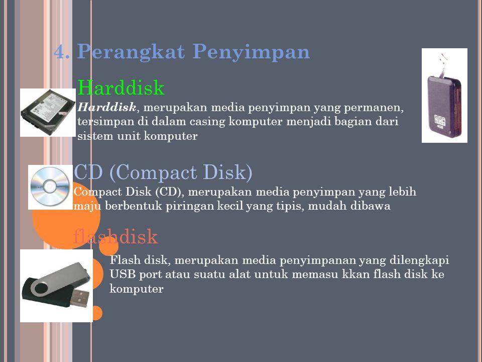 4. Perangkat Penyimpan Harddisk CD (Compact Disk) flashdisk