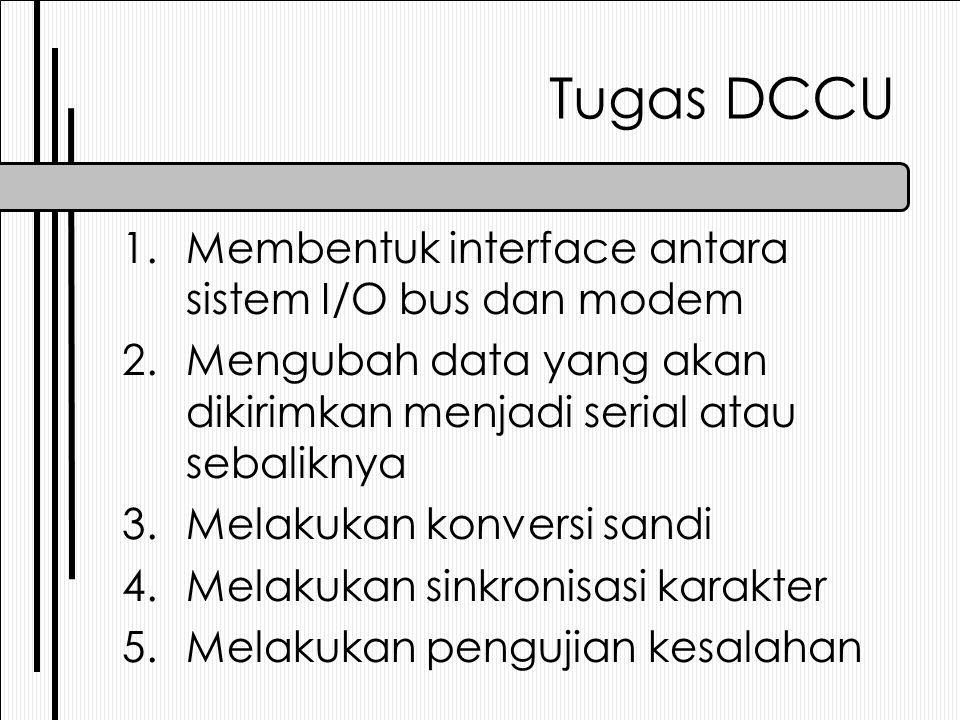 Tugas DCCU Membentuk interface antara sistem I/O bus dan modem