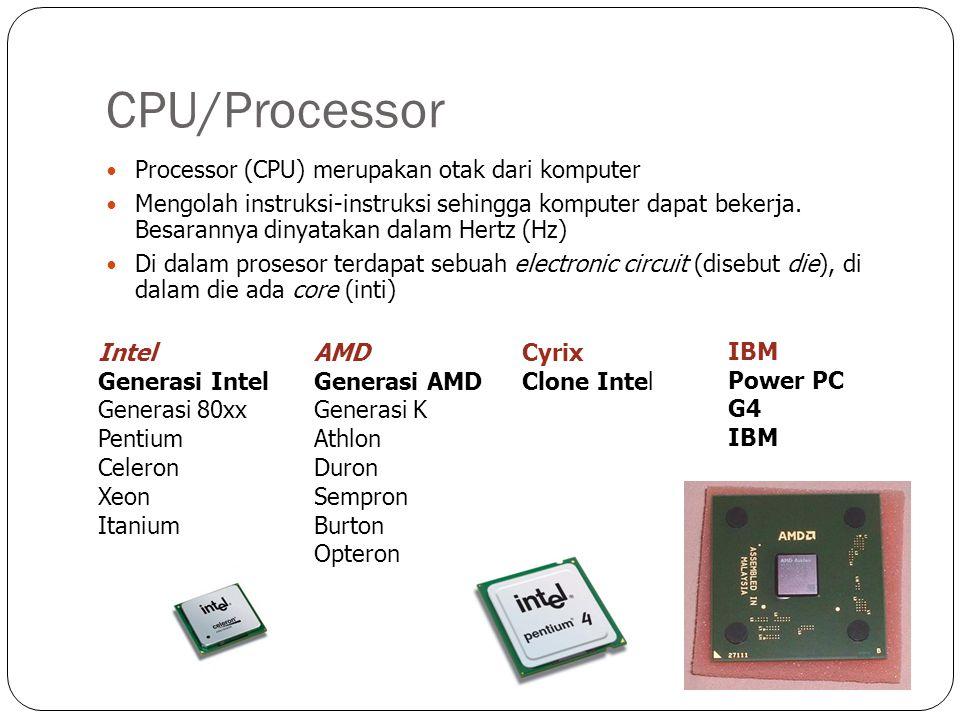 CPU/Processor Processor (CPU) merupakan otak dari komputer