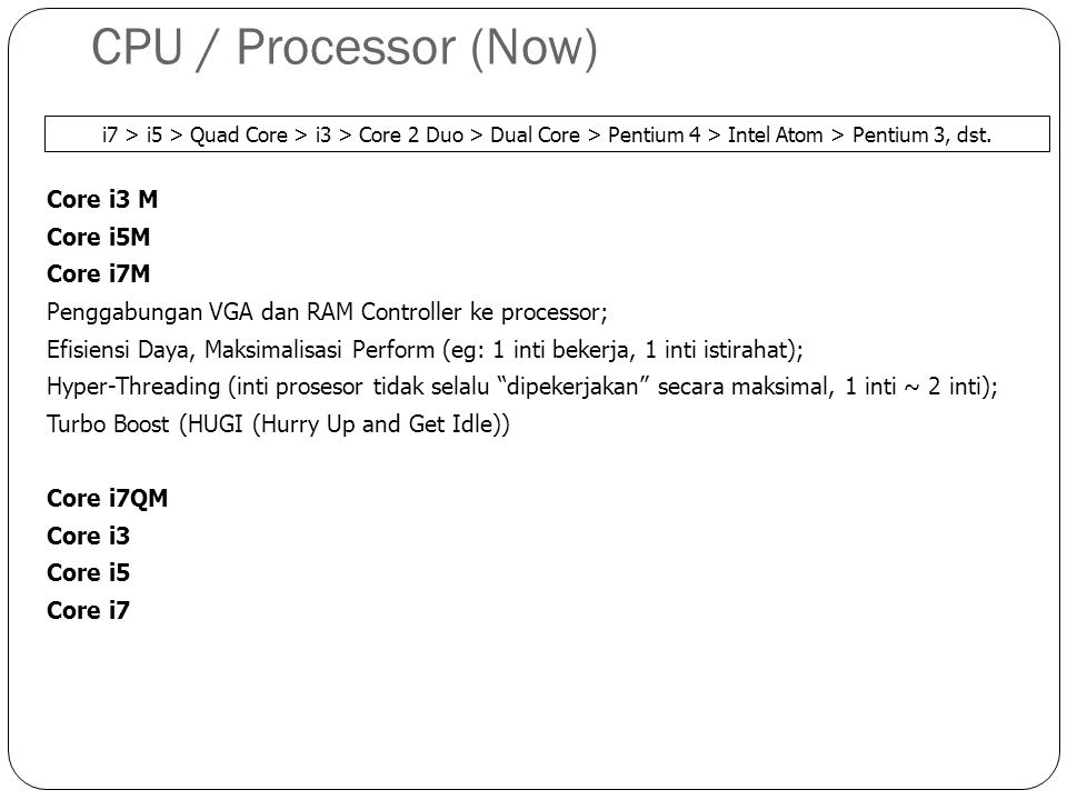 CPU / Processor (Now) Core i3 M Core i5M Core i7M