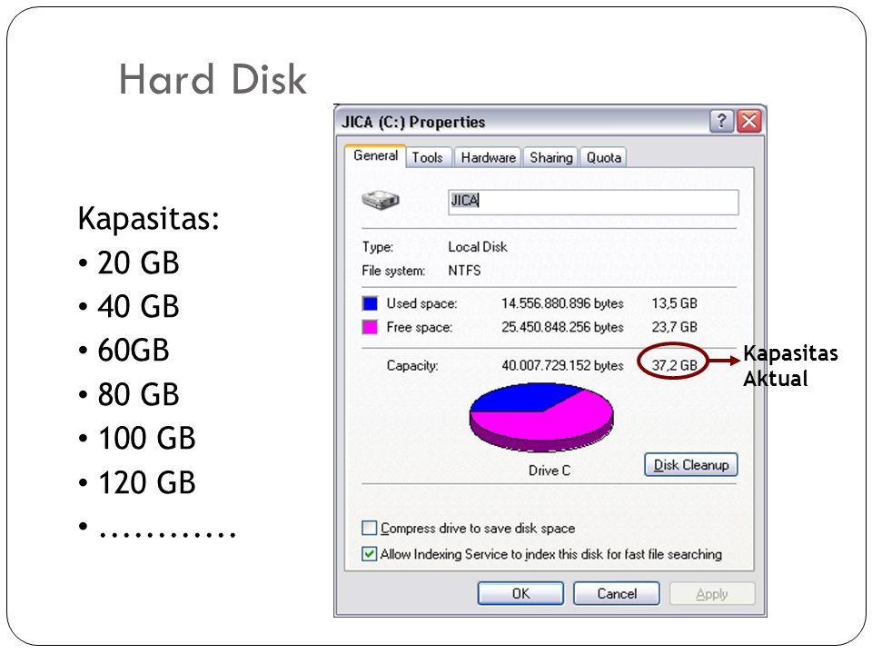 Hard Disk Kapasitas: 20 GB 40 GB 60GB 80 GB 100 GB 120 GB ............