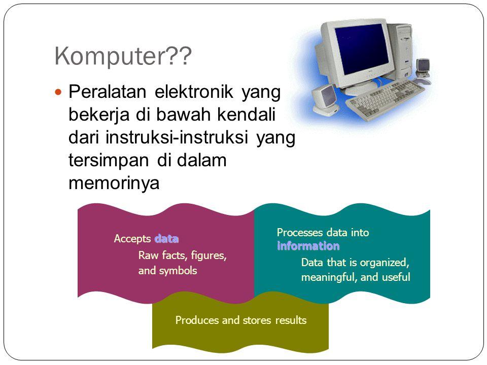 Komputer Peralatan elektronik yang bekerja di bawah kendali dari instruksi-instruksi yang tersimpan di dalam memorinya.