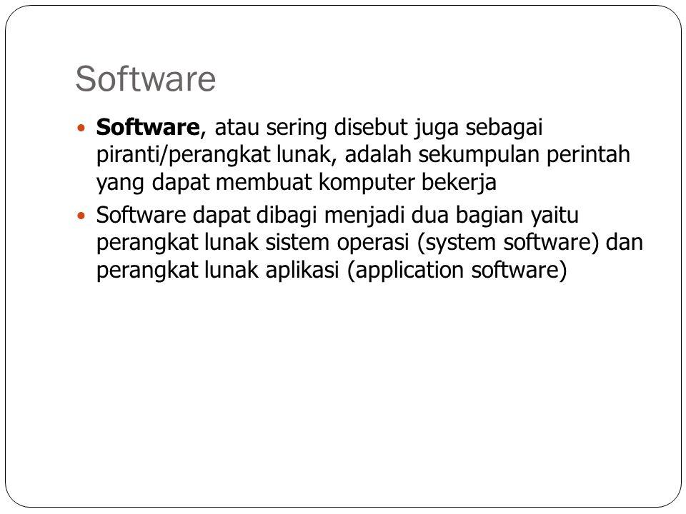 Software Software, atau sering disebut juga sebagai piranti/perangkat lunak, adalah sekumpulan perintah yang dapat membuat komputer bekerja.