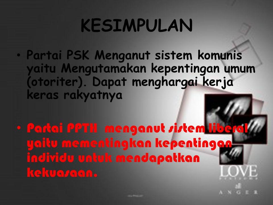 KESIMPULAN Partai PSK Menganut sistem komunis yaitu Mengutamakan kepentingan umum (otoriter). Dapat menghargai kerja keras rakyatnya.