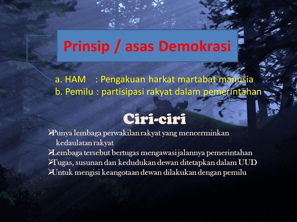 Prinsip / asas Demokrasi