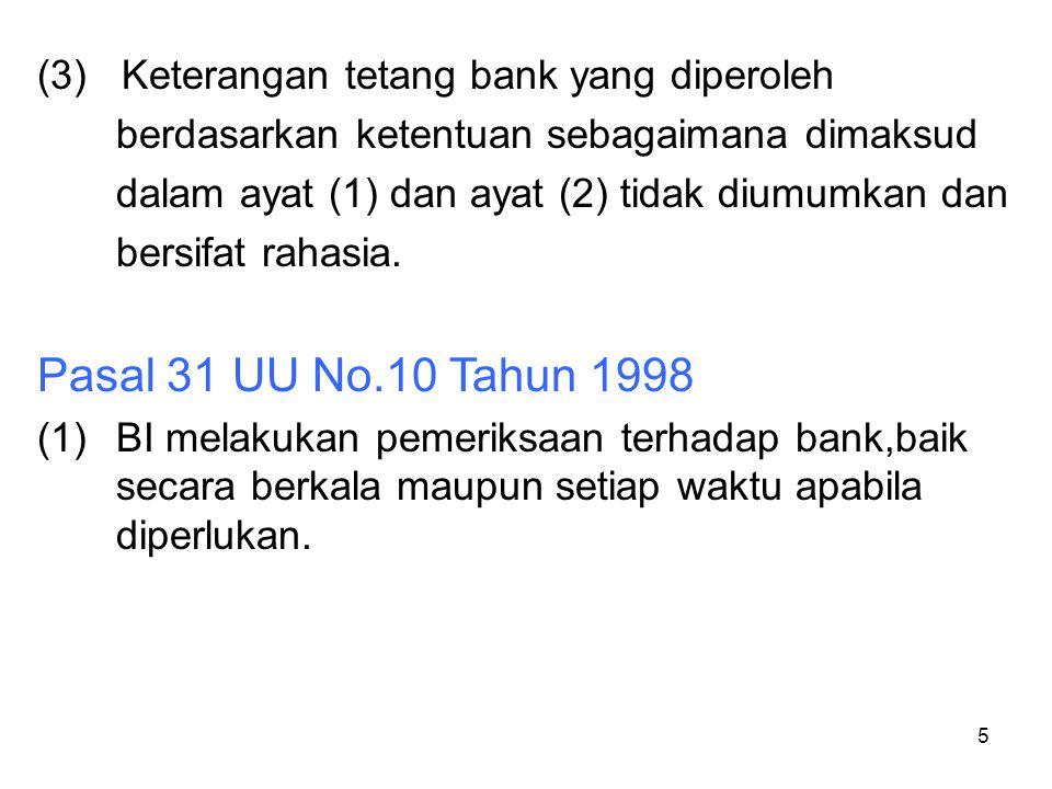 Pasal 31 UU No.10 Tahun 1998 (3) Keterangan tetang bank yang diperoleh