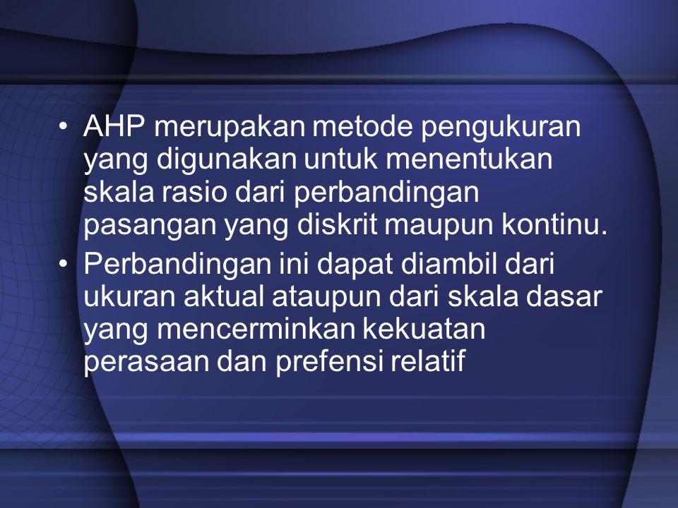 AHP merupakan metode pengukuran yang digunakan untuk menentukan skala rasio dari perbandingan pasangan yang diskrit maupun kontinu.