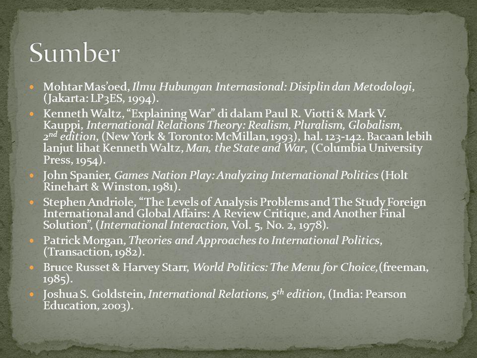 Sumber Mohtar Mas'oed, Ilmu Hubungan Internasional: Disiplin dan Metodologi, (Jakarta: LP3ES, 1994).