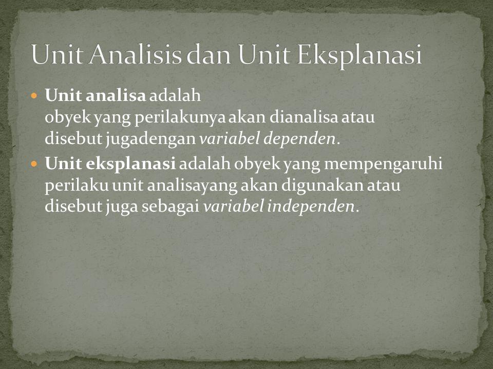 Unit Analisis dan Unit Eksplanasi
