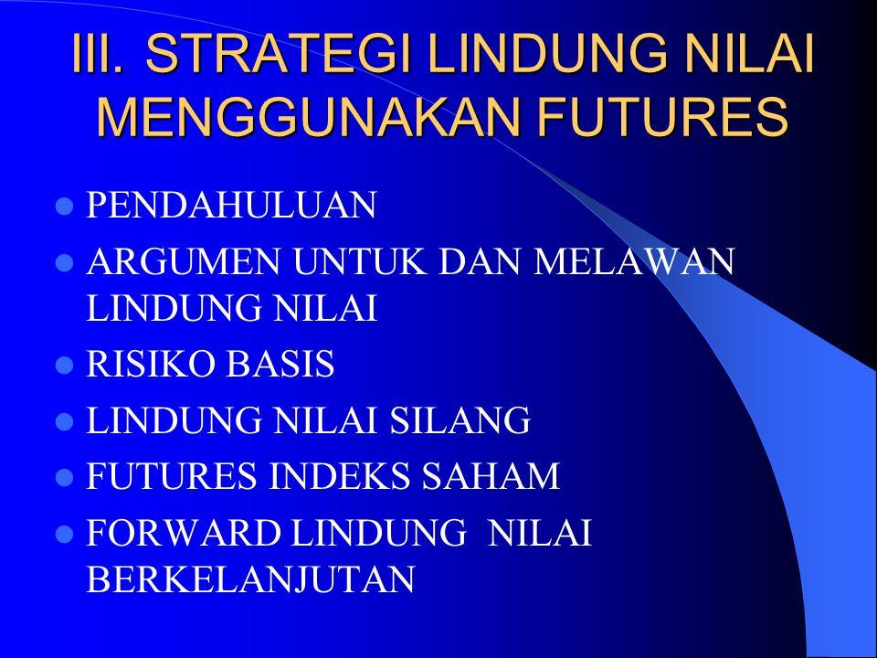 III. STRATEGI LINDUNG NILAI MENGGUNAKAN FUTURES