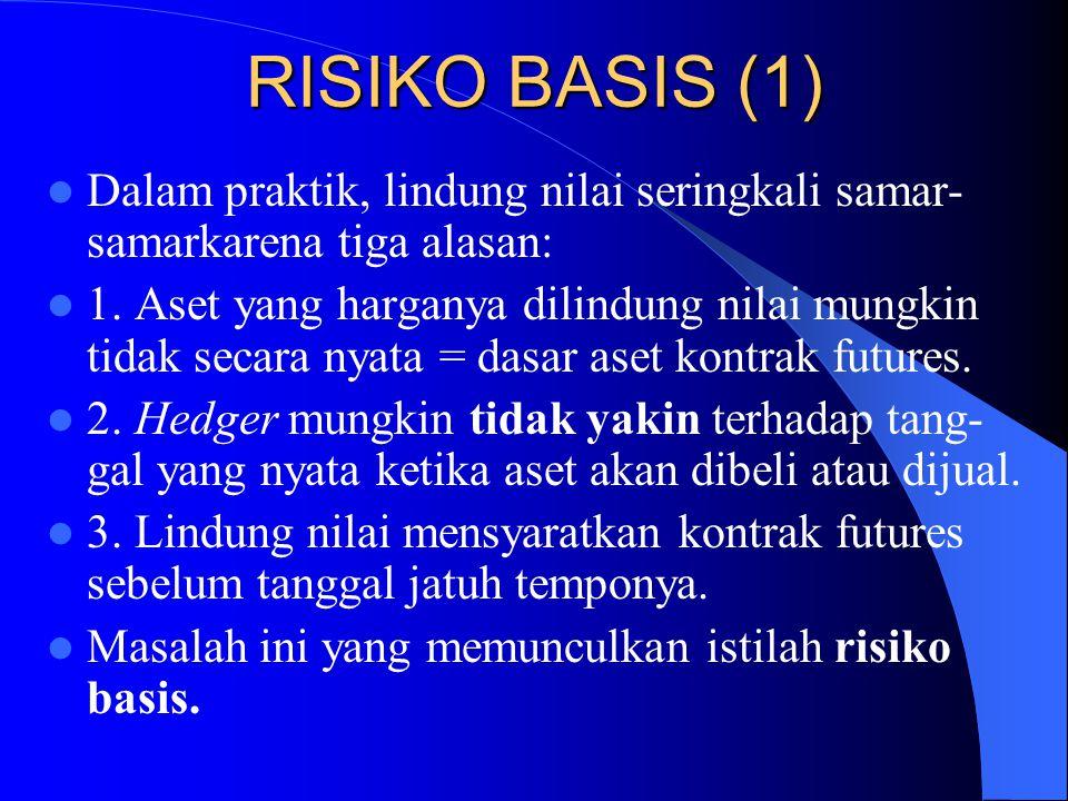 RISIKO BASIS (1) Dalam praktik, lindung nilai seringkali samar-samarkarena tiga alasan: