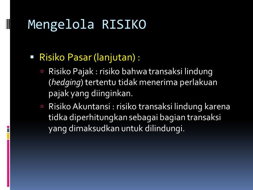 Mengelola RISIKO Risiko Pasar (lanjutan) :