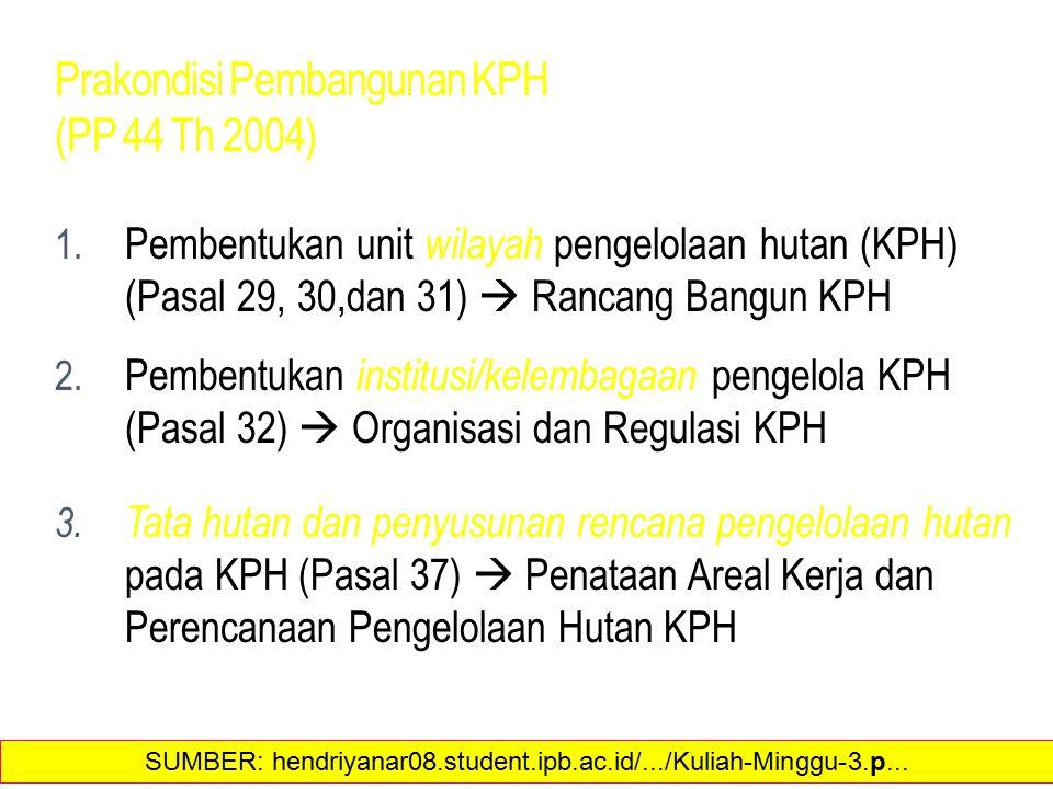 Prakondisi Pembangunan KPH (PP 44 Th 2004)