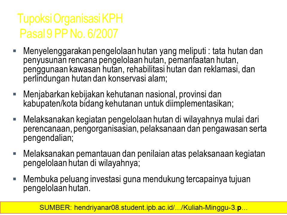 Tupoksi Organisasi KPH Pasal 9 PP No. 6/2007