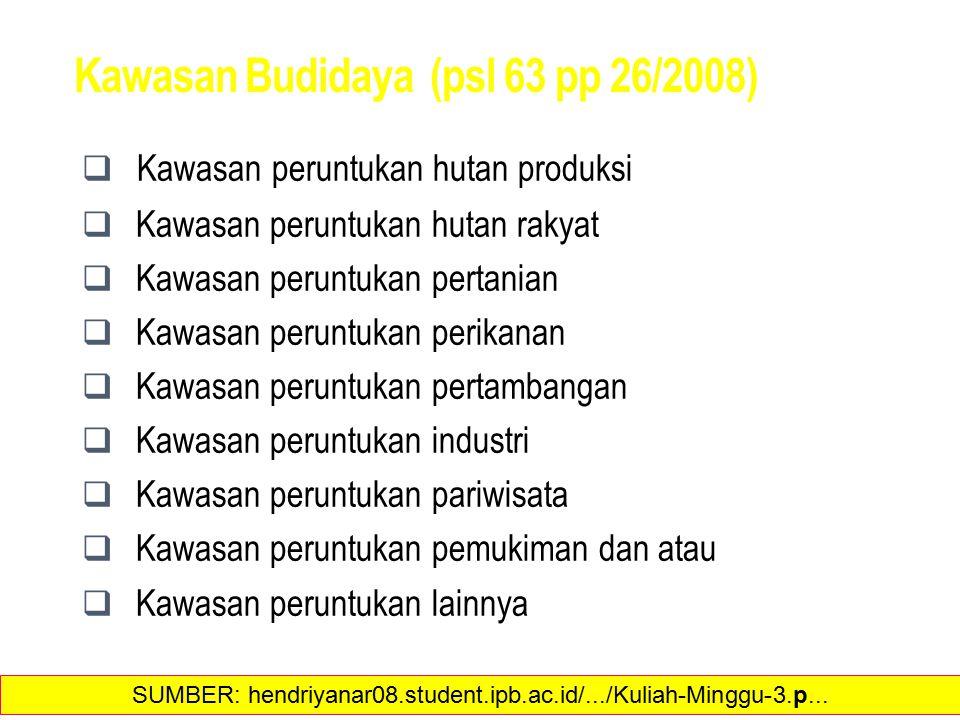 Kawasan Budidaya (psl 63 pp 26/2008)