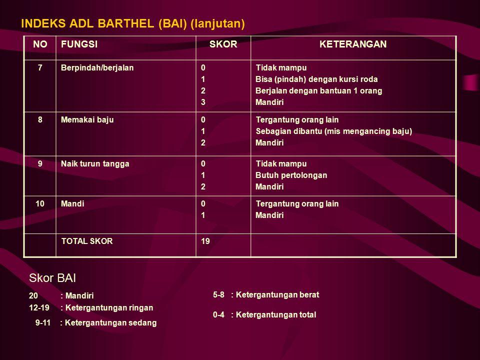 INDEKS ADL BARTHEL (BAI) (lanjutan)