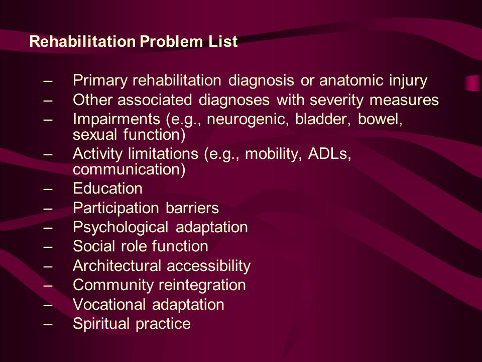 Rehabilitation Problem List