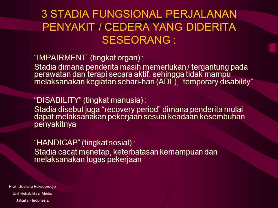 3 STADIA FUNGSIONAL PERJALANAN PENYAKIT / CEDERA YANG DIDERITA SESEORANG :