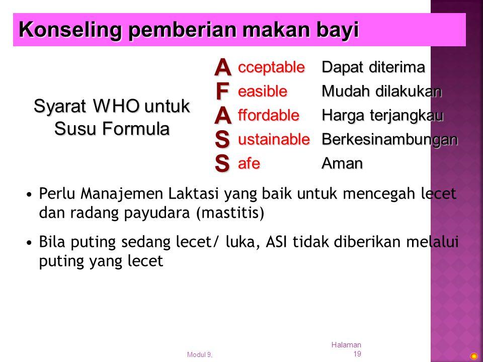 Syarat WHO untuk Susu Formula