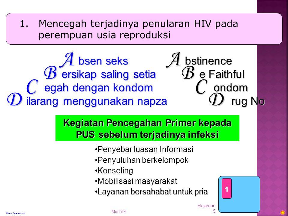 Kegiatan Pencegahan Primer kepada PUS sebelum terjadinya infeksi
