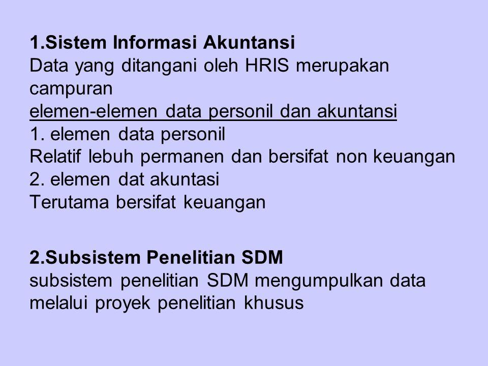 1.Sistem Informasi Akuntansi Data yang ditangani oleh HRIS merupakan campuran elemen-elemen data personil dan akuntansi 1.