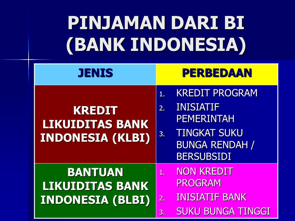 PINJAMAN DARI BI (BANK INDONESIA)