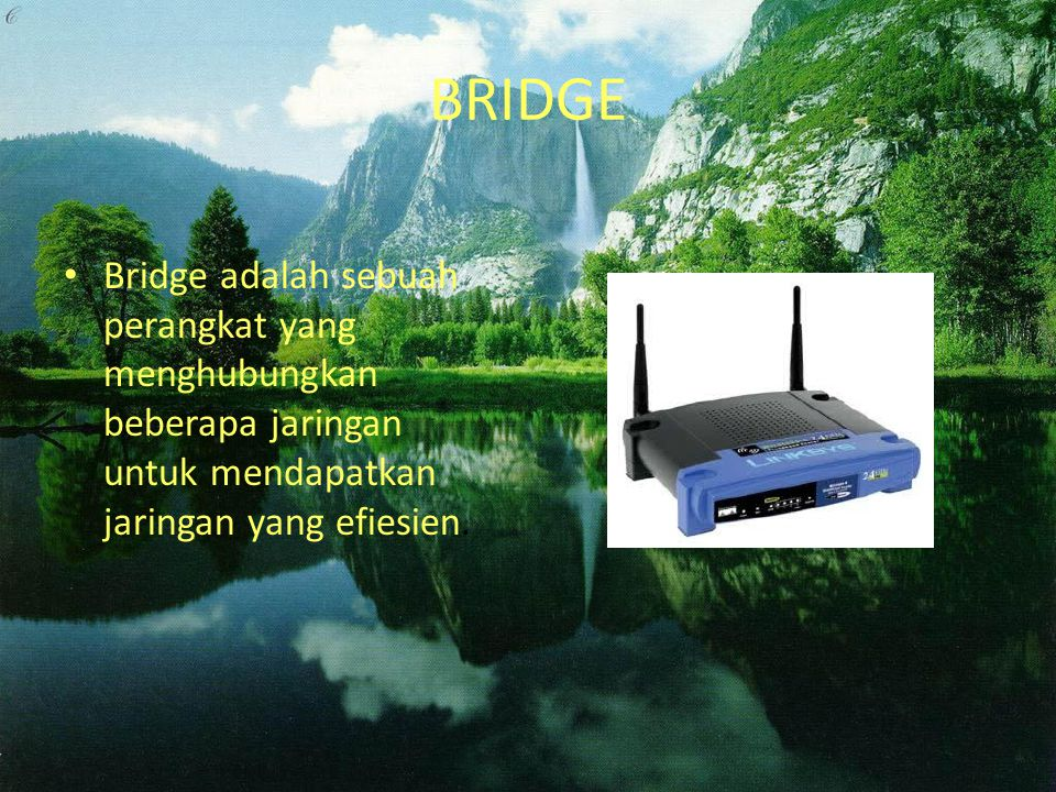 BRIDGE Bridge adalah sebuah perangkat yang menghubungkan beberapa jaringan untuk mendapatkan jaringan yang efiesien.