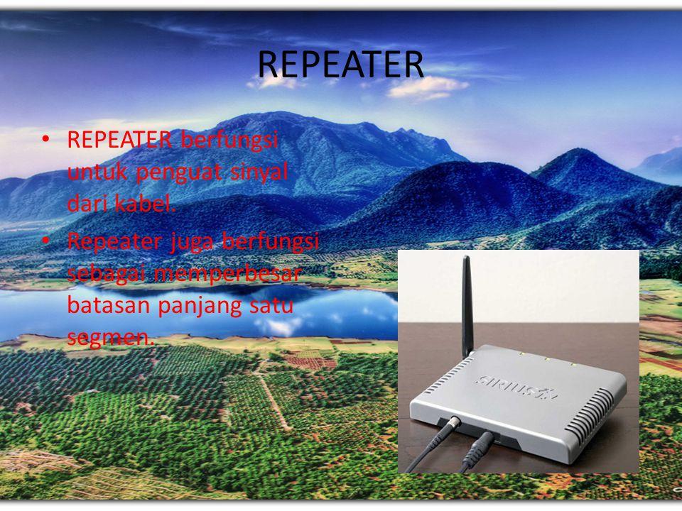 REPEATER REPEATER berfungsi untuk penguat sinyal dari kabel.