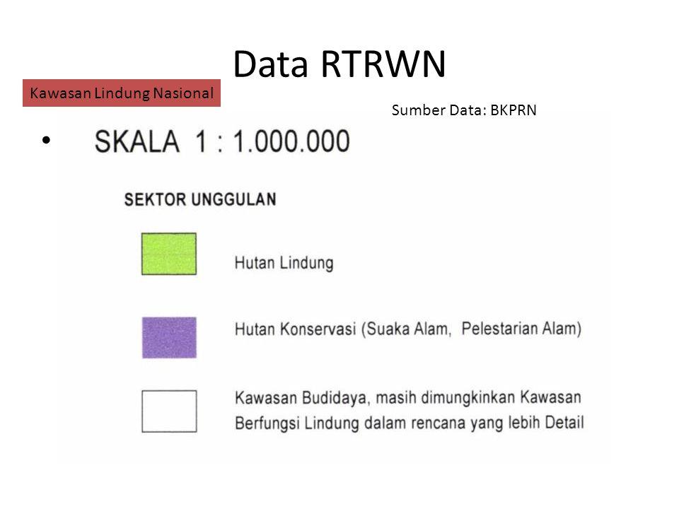 Data RTRWN Klassifikasi Fungsi Kawasan Suaka Alam Hutan Lindung