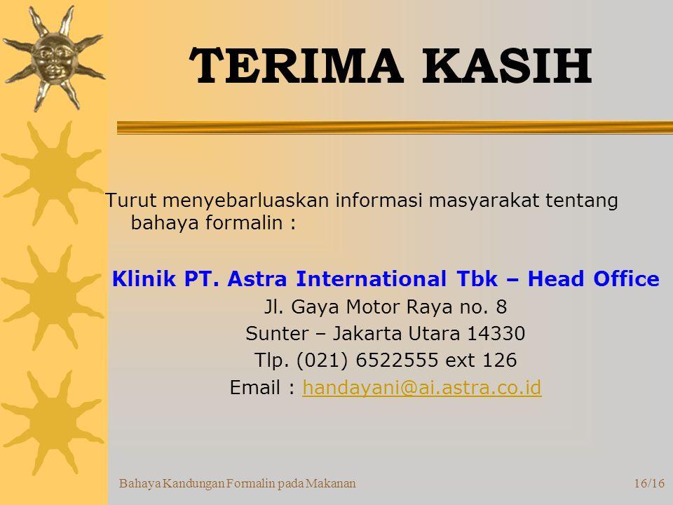 Klinik PT. Astra International Tbk – Head Office