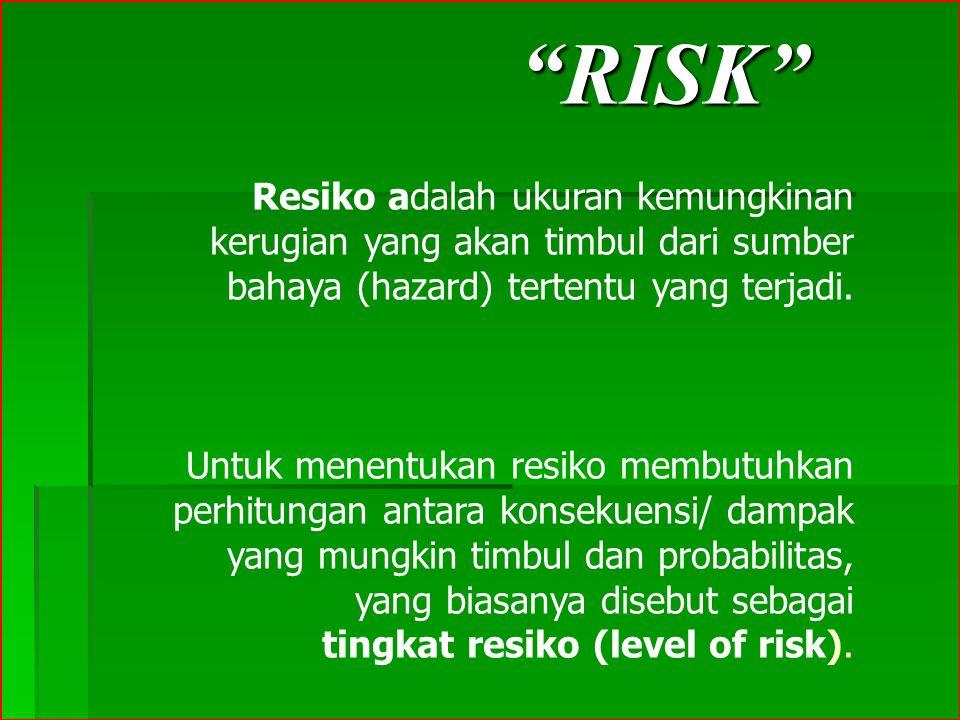 RISK Resiko adalah ukuran kemungkinan kerugian yang akan timbul dari sumber bahaya (hazard) tertentu yang terjadi.