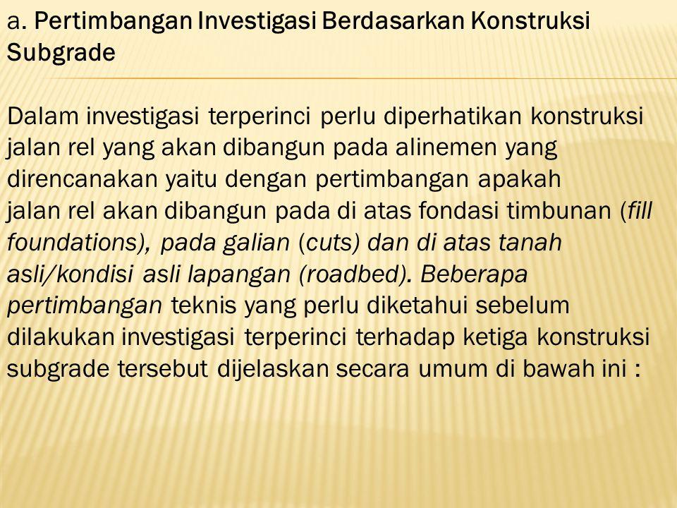 a. Pertimbangan Investigasi Berdasarkan Konstruksi Subgrade