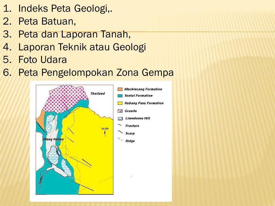 Indeks Peta Geologi,. Peta Batuan, Peta dan Laporan Tanah, Laporan Teknik atau Geologi. Foto Udara.