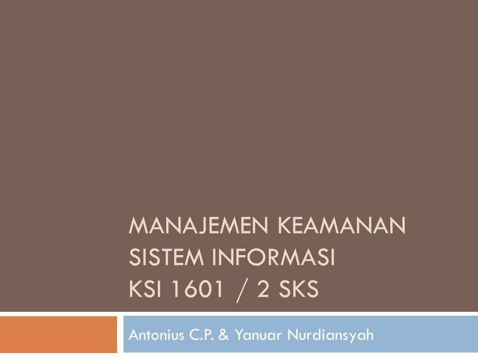 MANAJEMEN KEAMANAN SISTEM INFORMASI ksi 1601 / 2 sks