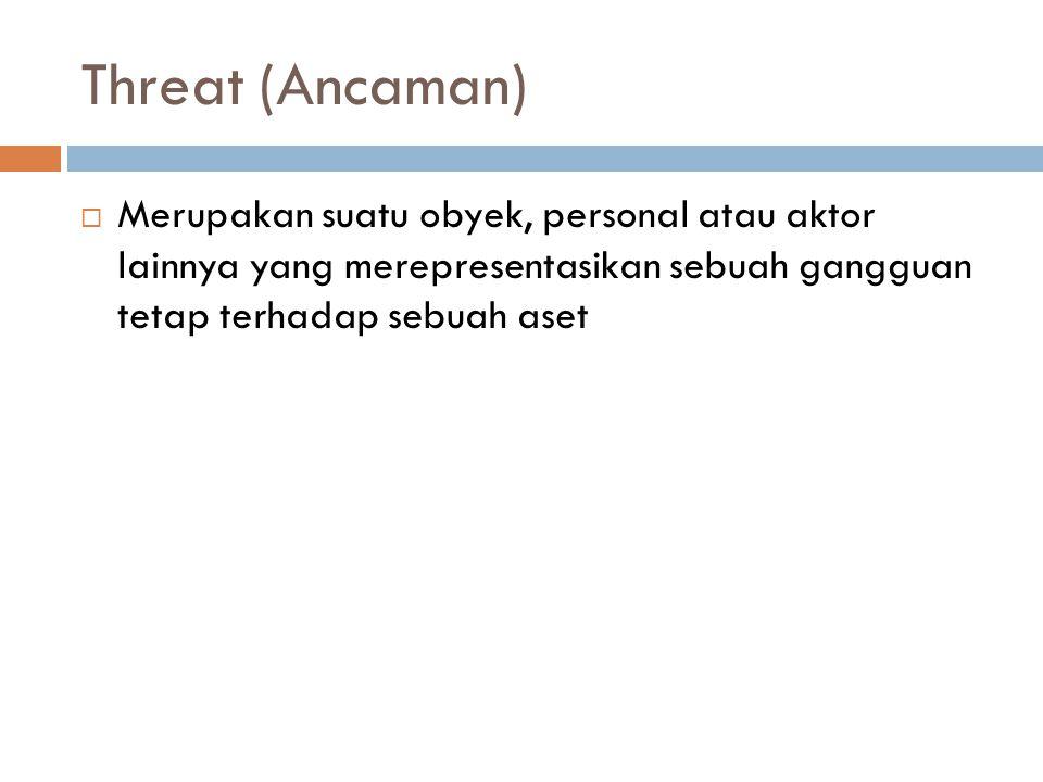 Threat (Ancaman) Merupakan suatu obyek, personal atau aktor lainnya yang merepresentasikan sebuah gangguan tetap terhadap sebuah aset.