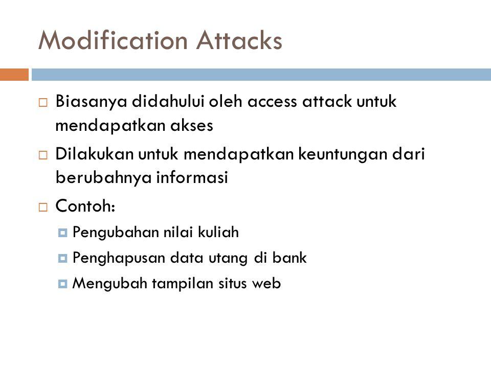 Modification Attacks Biasanya didahului oleh access attack untuk mendapatkan akses.