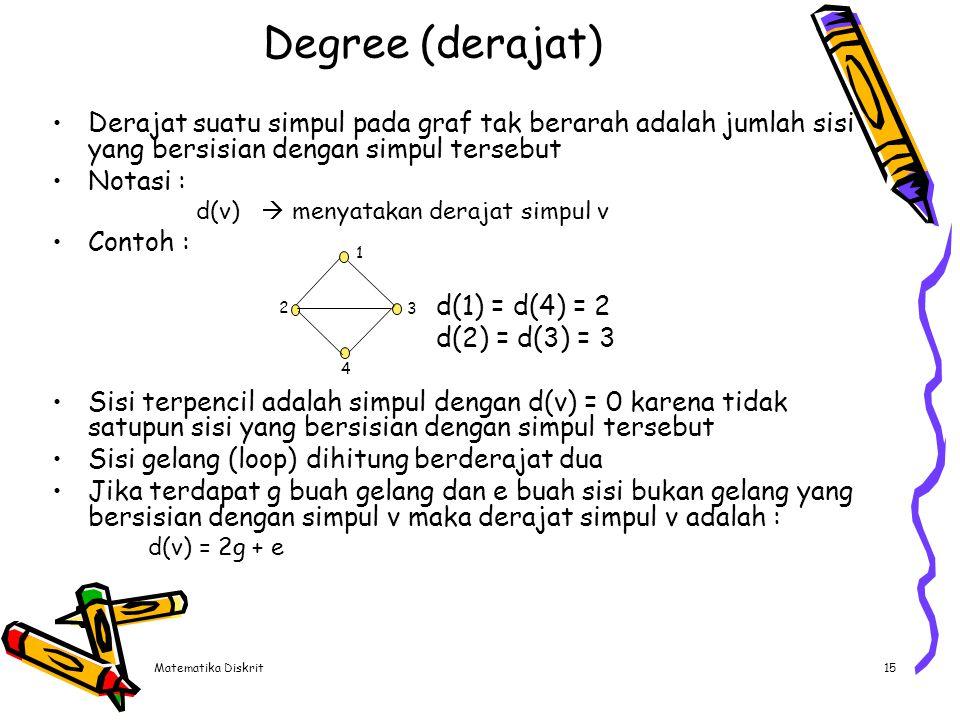 Degree (derajat) Simpul yang berderajat satu disebut anting-anting (pendant vertex)