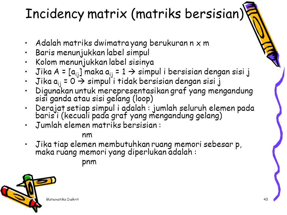 Contoh Jumlah elemen matriks adalah 4 x 6 = 24 e1 1 2 e2 e4 e3 3 e5 4