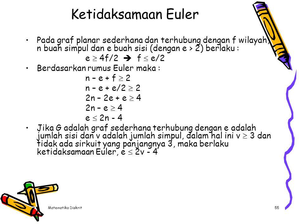 Contoh (1) Pada graf K4 : n = 4 ; e = 6 Ketidaksamaan Euler :