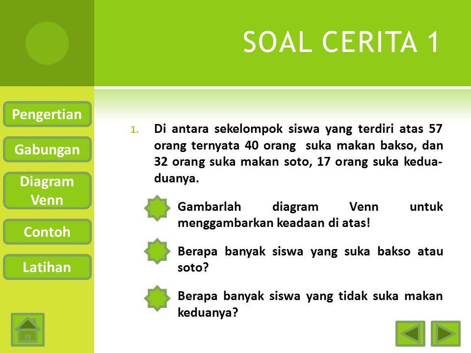 SOAL CERITA 1 Pengertian Gabungan Diagram Venn Contoh Latihan