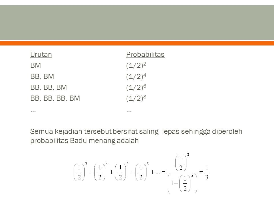 Urutan Probabilitas BM (1/2)2 BB, BM (1/2)4 BB, BB, BM (1/2)6 BB, BB, BB, BM (1/2)8 … … Semua kejadian tersebut bersifat saling lepas sehingga diperoleh probabilitas Badu menang adalah