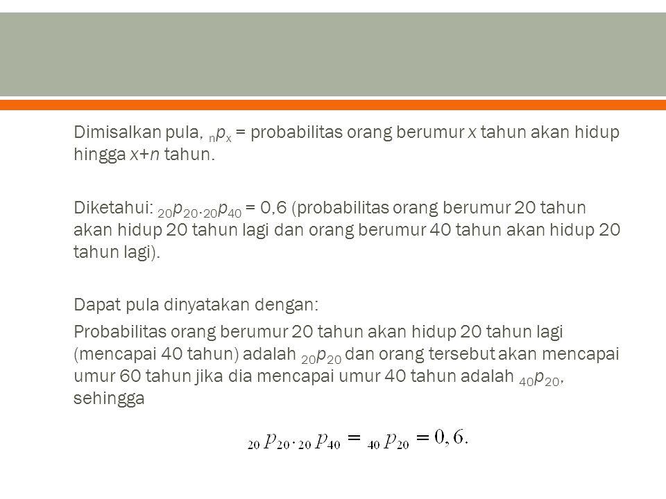 Dimisalkan pula, npx = probabilitas orang berumur x tahun akan hidup hingga x+n tahun.