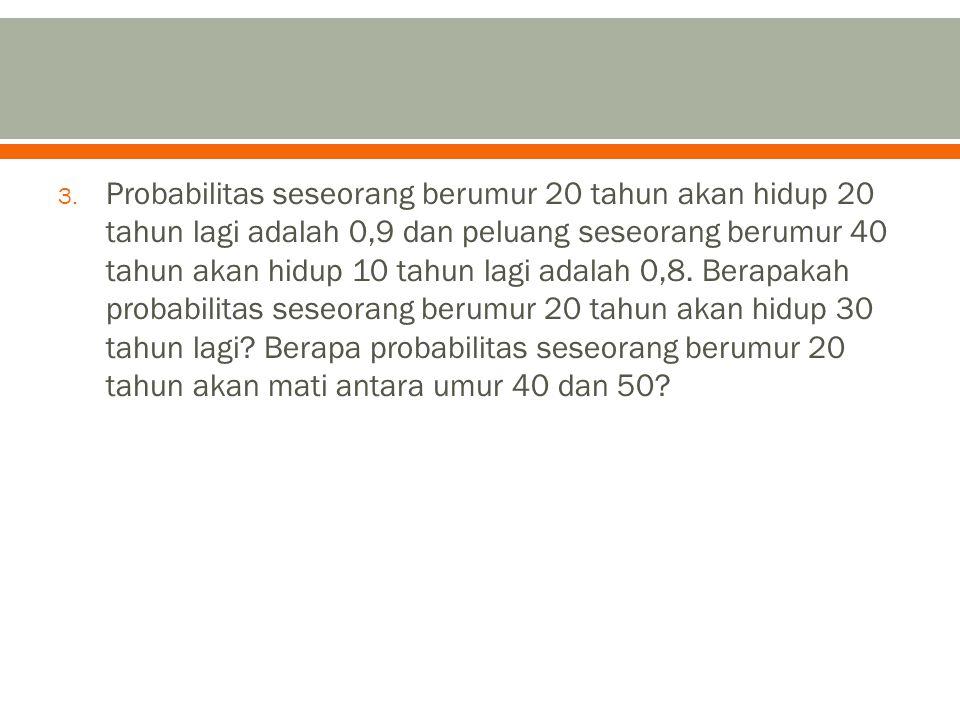 Probabilitas seseorang berumur 20 tahun akan hidup 20 tahun lagi adalah 0,9 dan peluang seseorang berumur 40 tahun akan hidup 10 tahun lagi adalah 0,8.