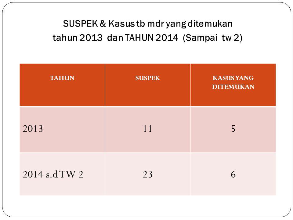 2013 11 5 2014 s.d TW 2 23 6 SUSPEK & Kasus tb mdr yang ditemukan