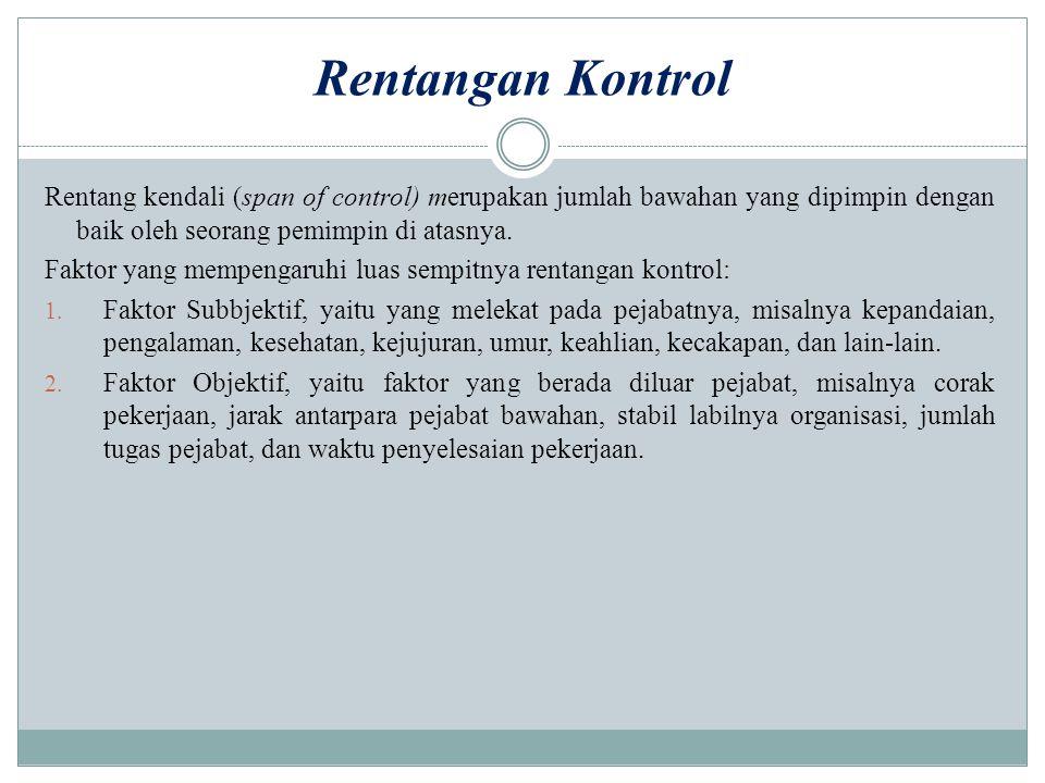 Rentangan Kontrol Rentang kendali (span of control) merupakan jumlah bawahan yang dipimpin dengan baik oleh seorang pemimpin di atasnya.