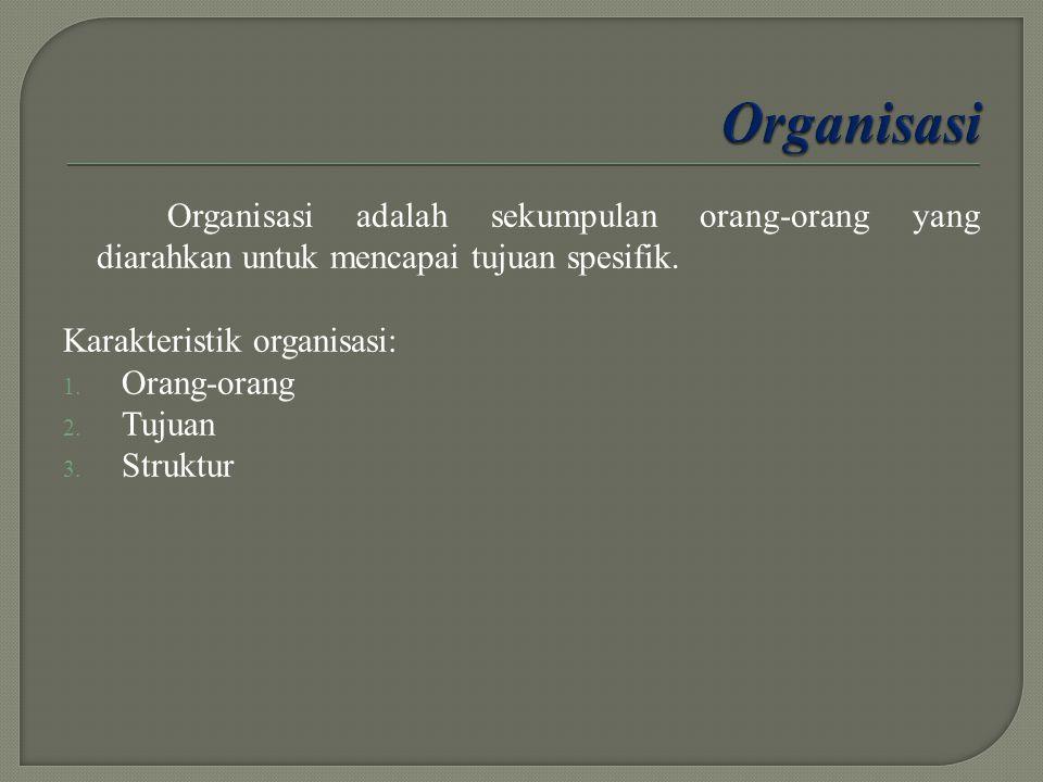 Organisasi Organisasi adalah sekumpulan orang-orang yang diarahkan untuk mencapai tujuan spesifik. Karakteristik organisasi: