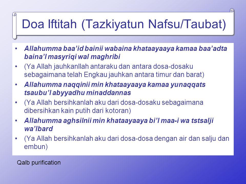 Doa Iftitah (Tazkiyatun Nafsu/Taubat)
